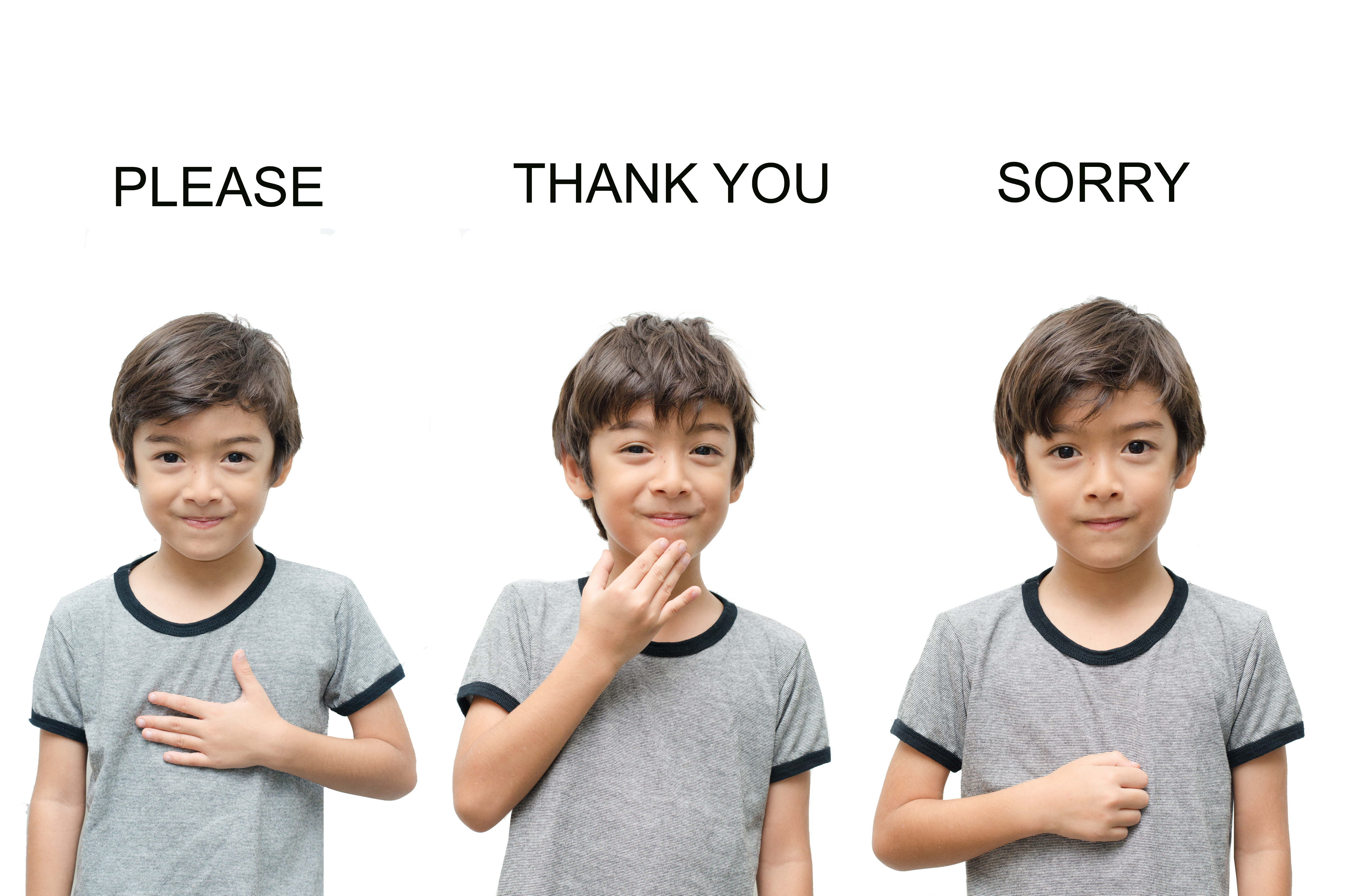"Child using ASL to communicate and say ""Please, thank you and sorry"""