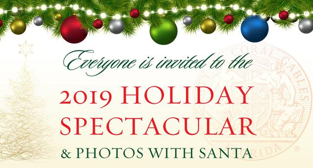 2019 Holiday Spectacular and Photos with Santa banner.
