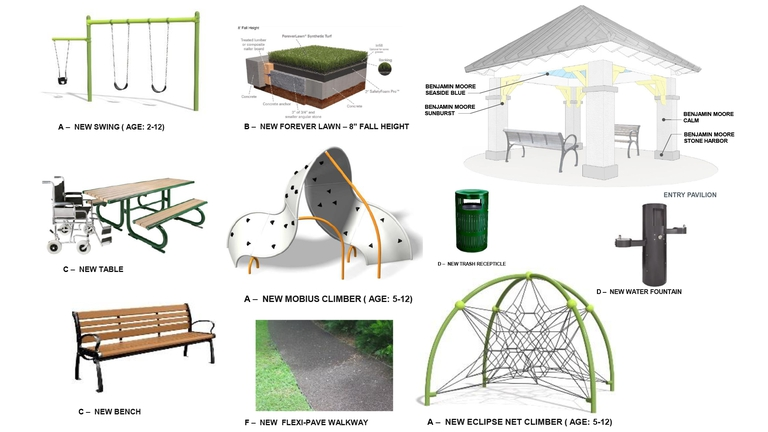 Proposed Pierce Park renovation park elements.