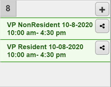 Screenshot of calendar showing two options to select resident or non-resident for purchasing venetian pool ticket.