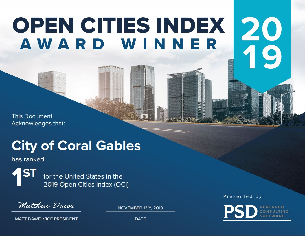 Open Cities Index Award Winner 2019