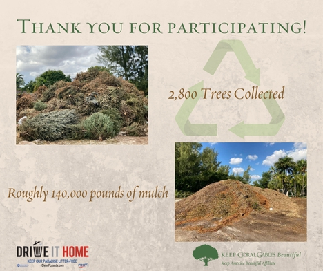 Thank you for participating. 2,800 trees collected. Roughly 140,000 pounds of Mulch.