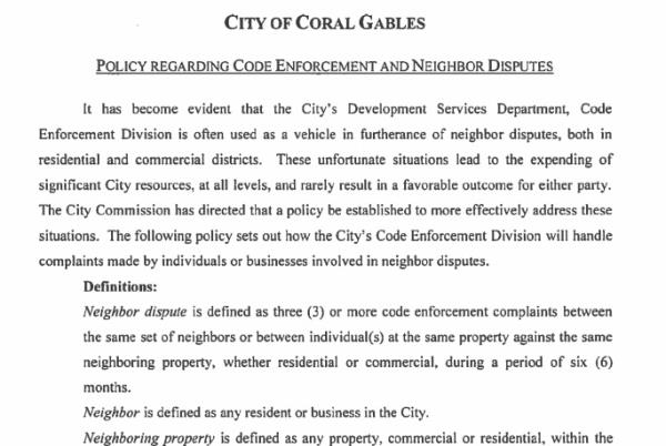 Policy Regarding Code Enforcement and Neighbor Disputes